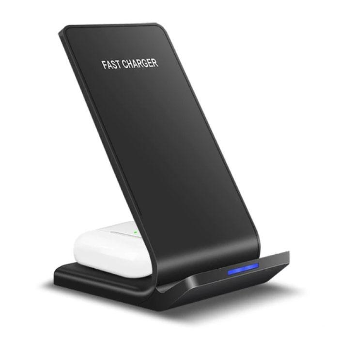 Support de bureau / chargeur sans fil Qi 15W - Support de téléphone universel de type C Support de bureau de chargement sans fil standard Pad noir
