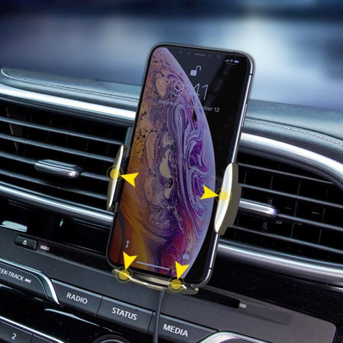 FLOVEME 10W Draadloze Qi Autolader - Airvent Clip Oplader Universeel Wireless Car Charging Pad Blauw