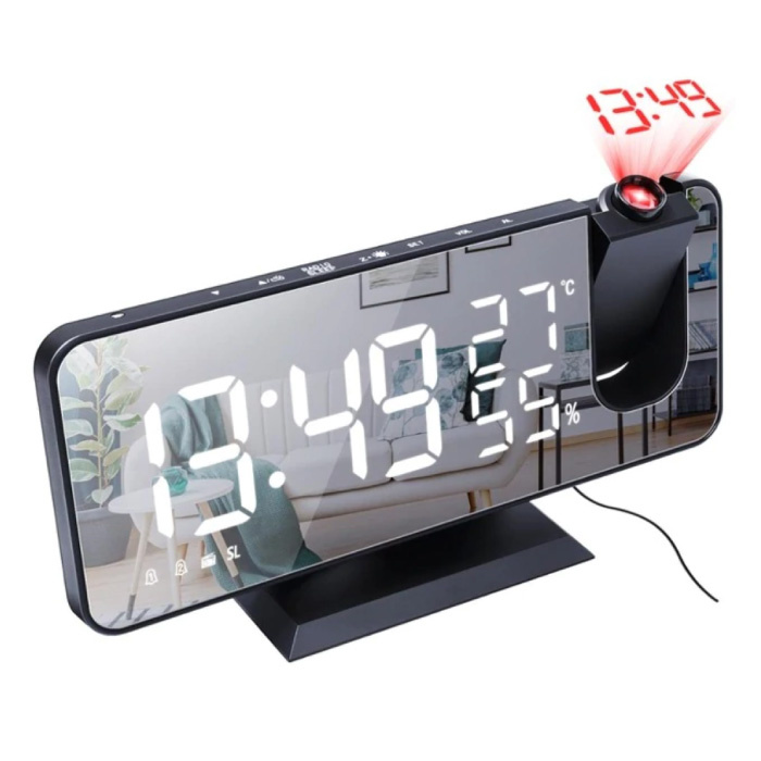 Multifunktionale digitale LED-Uhr - Wecker Spiegel Alarm Snooze Helligkeitseinstellung Schwarz