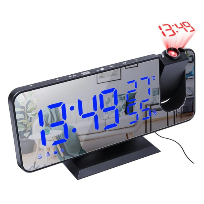 Multifunctionele Digitale LED Klok - Wekker Spiegel Alarm Snooze Helderheid Aanpassing Zwart