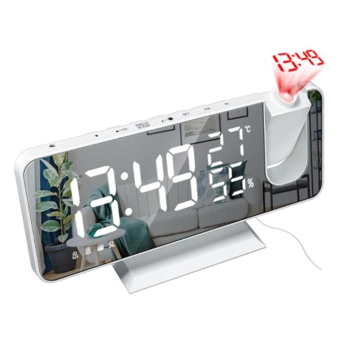 Multifunctionele Digitale LED Klok - Wekker Spiegel Alarm Snooze Helderheid Aanpassing Wit