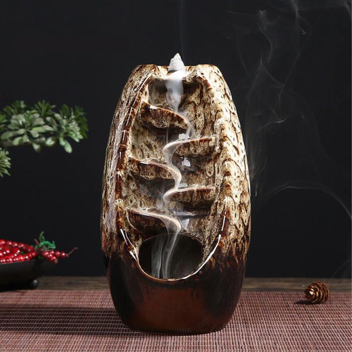 Aromathérapie brûleur d'encens ornemental cascade reflux - brûleur d'encens à reflux Feng Shui décor ornement blanc