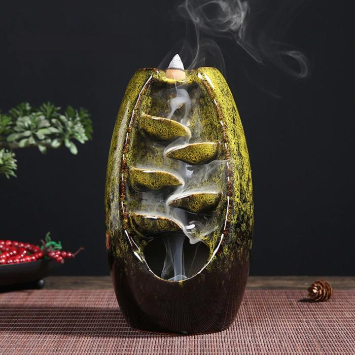 Aromatherapy Ornamental Incense Burner Waterfall Backflow - Backflow Incense Burner Feng Shui Decor Ornament Green