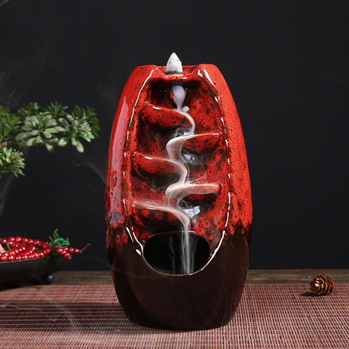 Aromathérapie brûleur d'encens ornemental cascade à reflux - brûleur d'encens à reflux Feng Shui décor ornement rouge