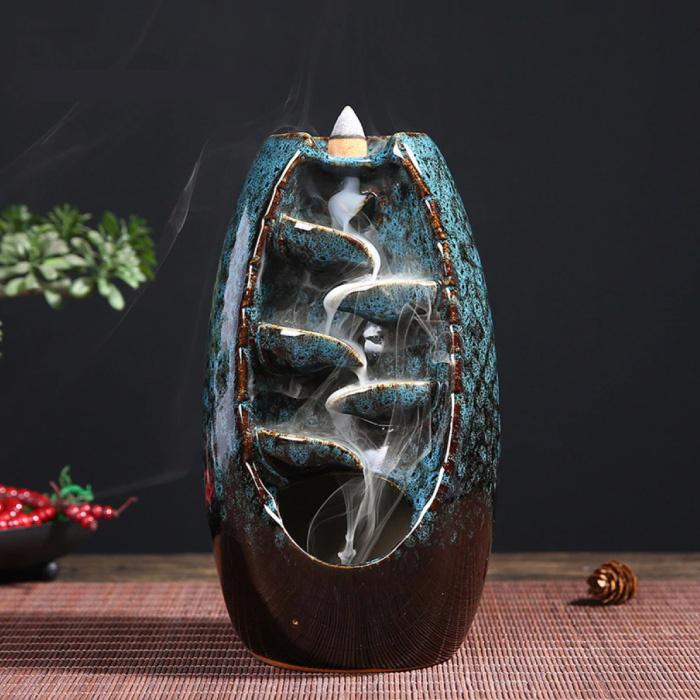 Aromatherapie Sier Wierookbrander Waterval Terugstromen - Backflow Incense Burner Feng Shui Decor Ornament Blauw