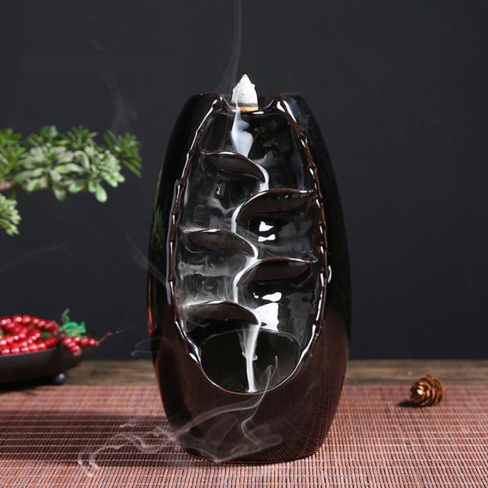 Aromathérapie brûleur d'encens ornemental cascade à reflux - brûleur d'encens à reflux Feng Shui décor ornement noir