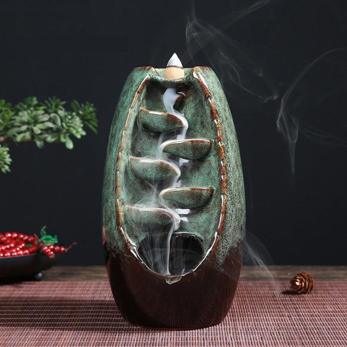 Aromathérapie brûleur d'encens ornemental cascade reflux - brûleur d'encens à reflux Feng Shui décor ornement vert clair