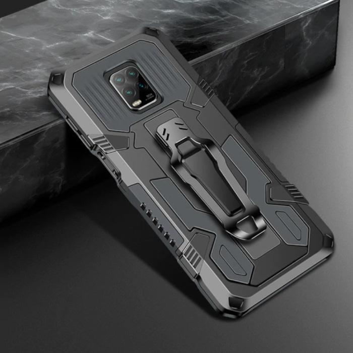 Xiaomi Redmi Note 9 Pro Max Gehäuse - Magnetische stoßfeste Gehäuseabdeckung Cas TPU Grau + Ständer