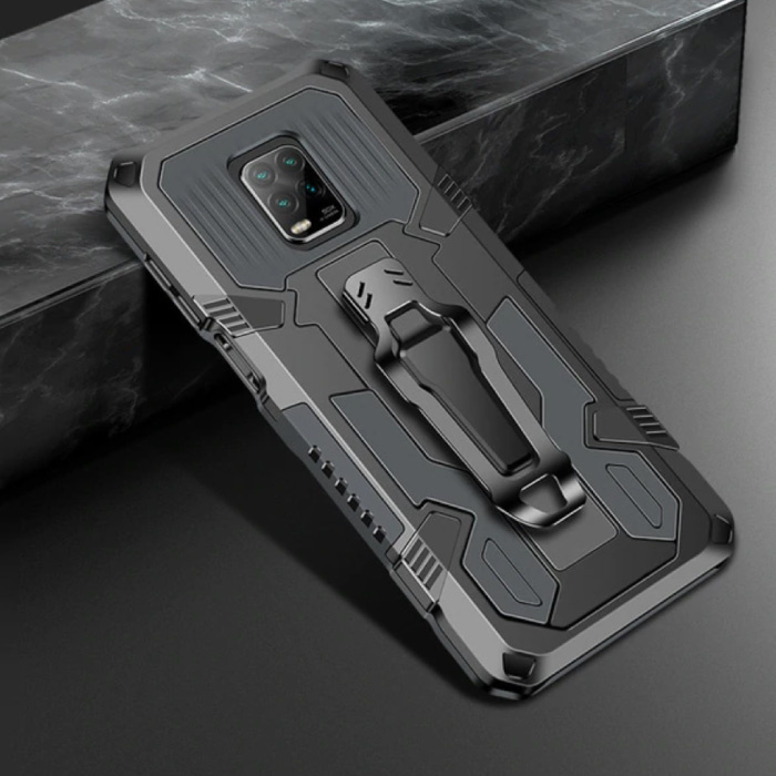 Xiaomi Redmi Note 9 Pro Hoesje  - Magnetisch Shockproof Case Cover Cas TPU Grijs + Kickstand