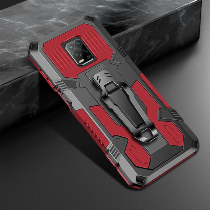 Xiaomi Redmi Note 9 Pro Max Hoesje  - Magnetisch Shockproof Case Cover Cas TPU Rood + Kickstand