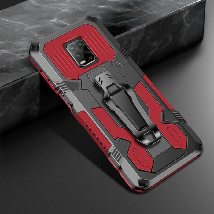 Xiaomi Redmi Note 9 Pro Hoesje  - Magnetisch Shockproof Case Cover Cas TPU Rood + Kickstand