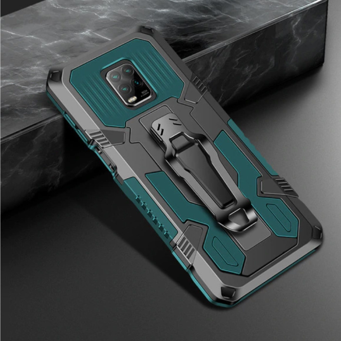 Xiaomi Redmi Note 9 Pro Case - Magnetic Shockproof Case Cover Cas TPU Green + Kickstand