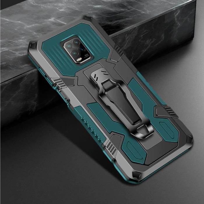 Xiaomi Redmi Note 9 Pro Hoesje  - Magnetisch Shockproof Case Cover Cas TPU Groen + Kickstand