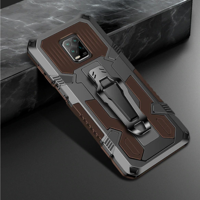 Xiaomi Redmi Note 9 Pro Max Case - Magnetic Shockproof Case Cover Cas TPU Brown + Kickstand