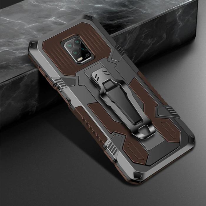 Xiaomi Redmi Note 9 Pro Max Hoesje  - Magnetisch Shockproof Case Cover Cas TPU Bruin + Kickstand