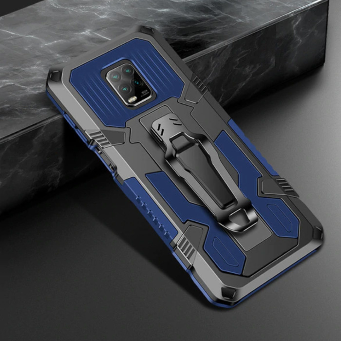 Xiaomi Redmi Note 9 Pro Max Hoesje  - Magnetisch Shockproof Case Cover Cas TPU Blauw + Kickstand