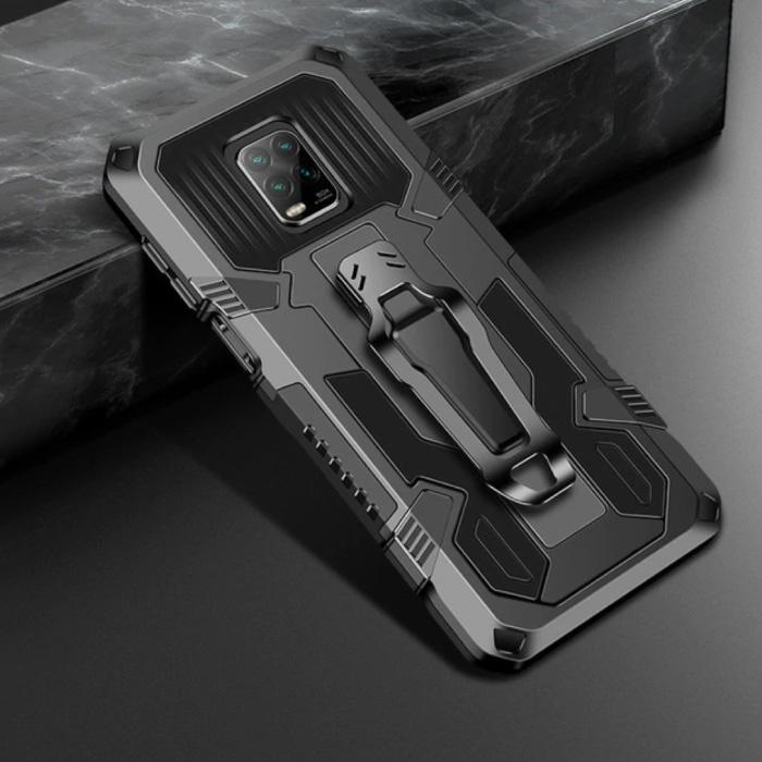 Xiaomi Redmi Note 9 Pro Max Gehäuse - Magnetische stoßfeste Gehäuseabdeckung Cas TPU Schwarz + Ständer