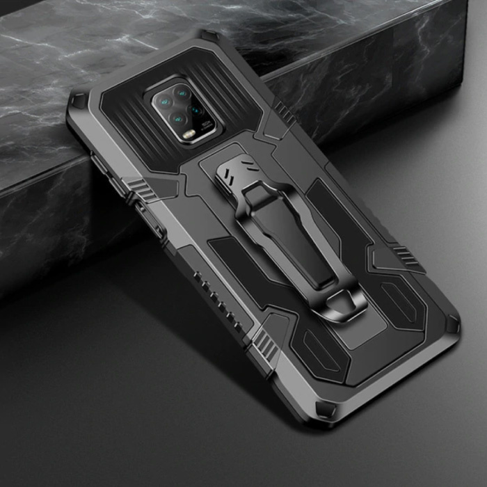 Xiaomi Mi 10T Hoesje  - Magnetisch Shockproof Case Cover Cas TPU Zwart + Kickstand