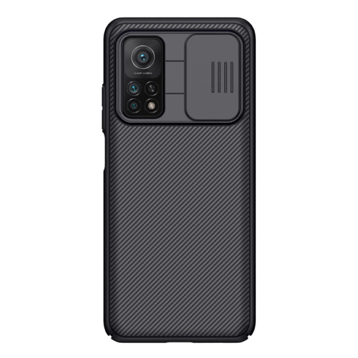 Xiaomi Mi 10T CamShield-Hülle mit Kameraschieber - Stoßfeste Hülle Cas TPU Schwarz