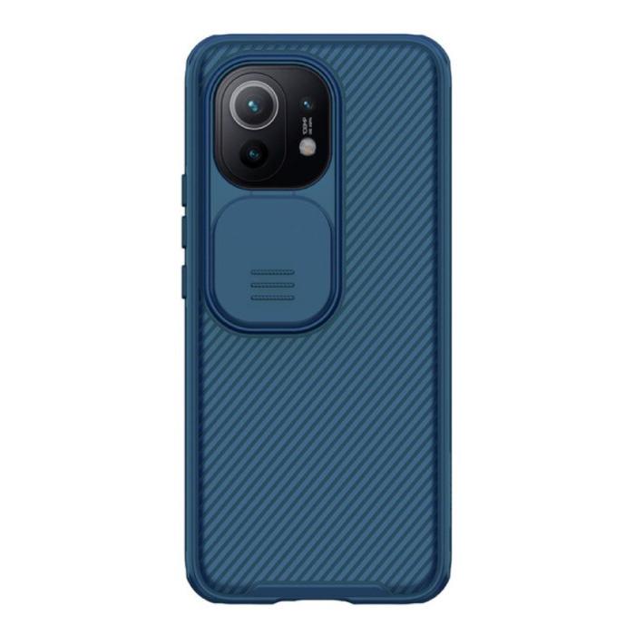 Xiaomi Mi 11 CamShield Pro Hülle mit Kameraschieber - Stoßfeste Hülle Cas TPU Blau