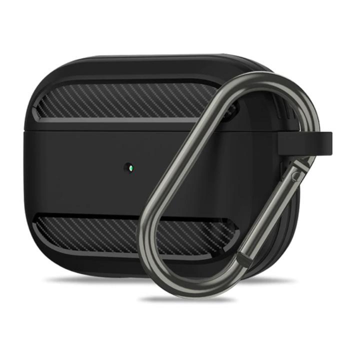 Étui antichoc pour AirPods Pro avec mousqueton - Peau de couverture pour AirPod - Noir
