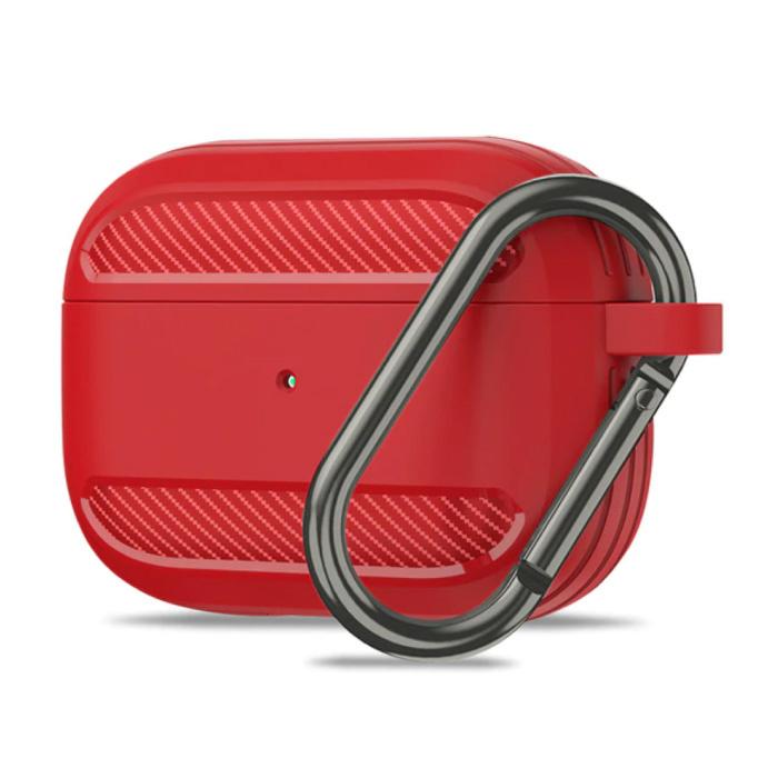 Étui antichoc pour AirPods Pro avec mousqueton - Peau de couverture pour AirPod - Rouge
