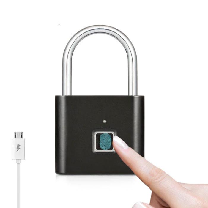 Hangslot Vingerafdruk - 10 Sets Fingerprints - Oplaadbare Smart Lock Vingerscan Fietsslot IP65 Waterdicht Ketting Slot Anti-Diefstal Roestvrij Staal Zwart