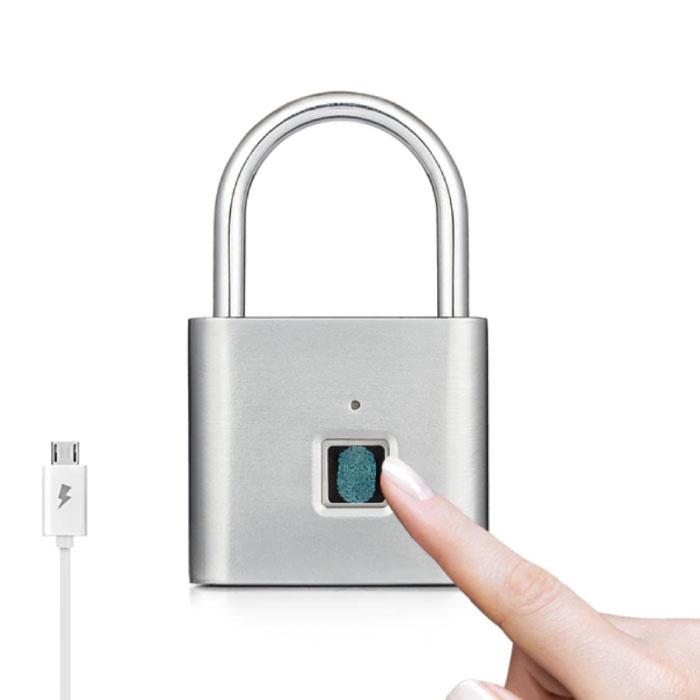 Hangslot Vingerafdruk - 10 Sets Fingerprints - Oplaadbare Smart Lock Vingerscan Fietsslot IP65 Waterdicht Ketting Slot Anti-Diefstal Roestvrij Staal Zilver