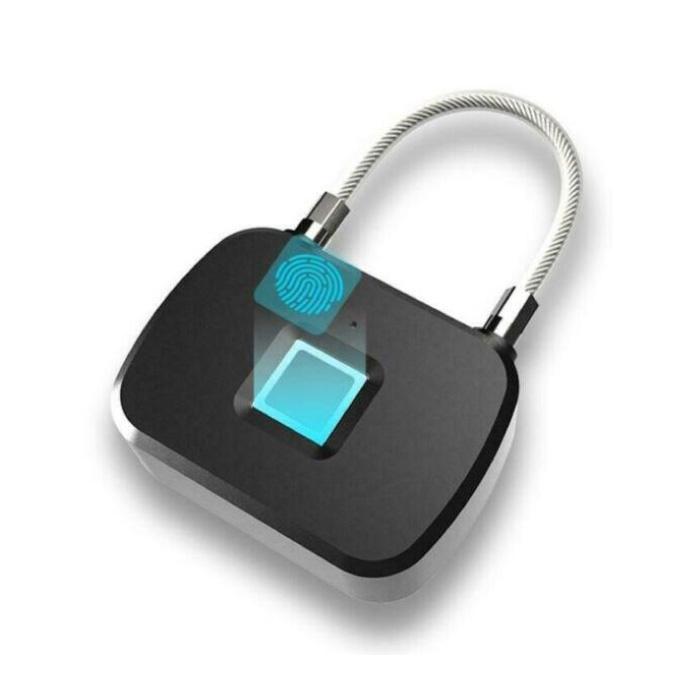 Cadenas d'empreintes digitales L13 - 10 jeux d'empreintes digitales - Rechargeable Smart Lock Finger Scan Verrouillage de vélo IP65 Antivol étanche à chaîne en acier inoxydable noir
