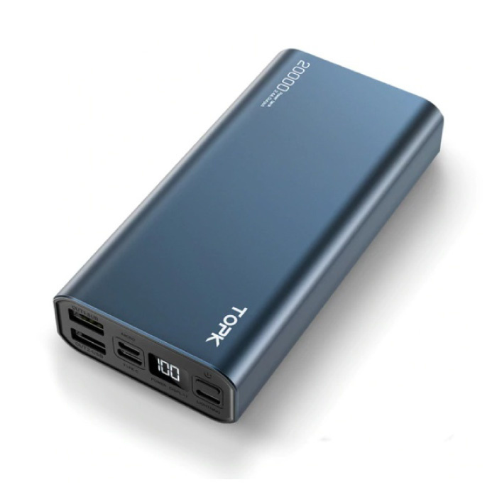 Powerbank externe en aluminium 20,000mAh - Chargeur de chargeur d'affichage à LED de batterie de secours à double port bleu