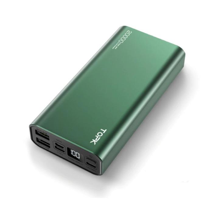 Powerbank externe en aluminium 20,000mAh - Chargeur de chargeur d'affichage à LED de batterie de secours à double port vert