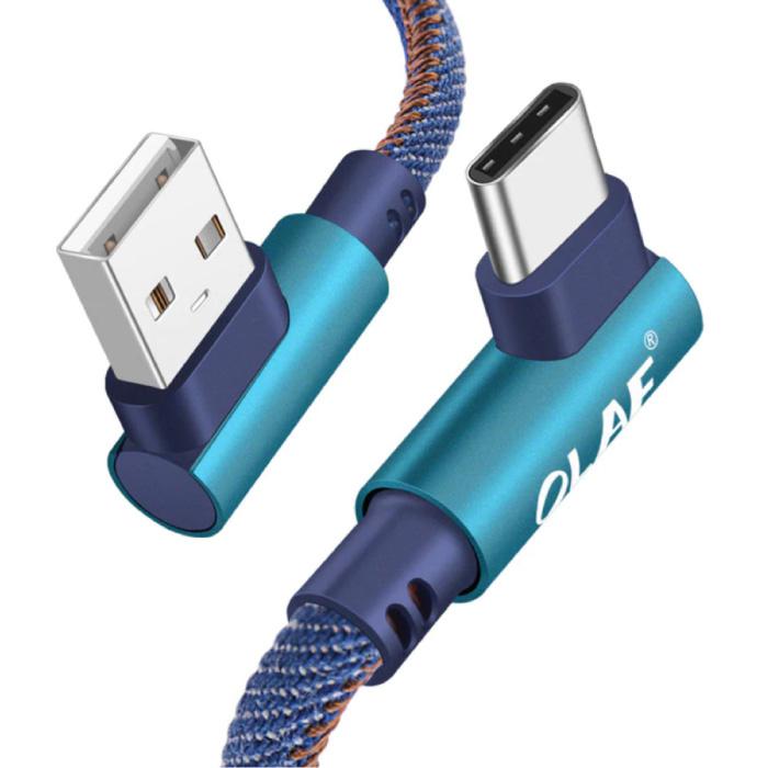 USB-C Oplaadkabel 90° - 2 Meter - Gevlochten Nylon Oplader Data Kabel Android Blauw