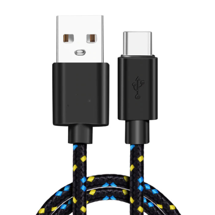 Câble de charge USB-C 2 mètres en nylon tressé - Câble de données de chargeur résistant à l'enchevêtrement noir