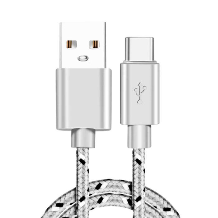 Câble de chargement USB-C 2 mètres en nylon tressé - Câble de données de chargeur résistant à l'enchevêtrement gris