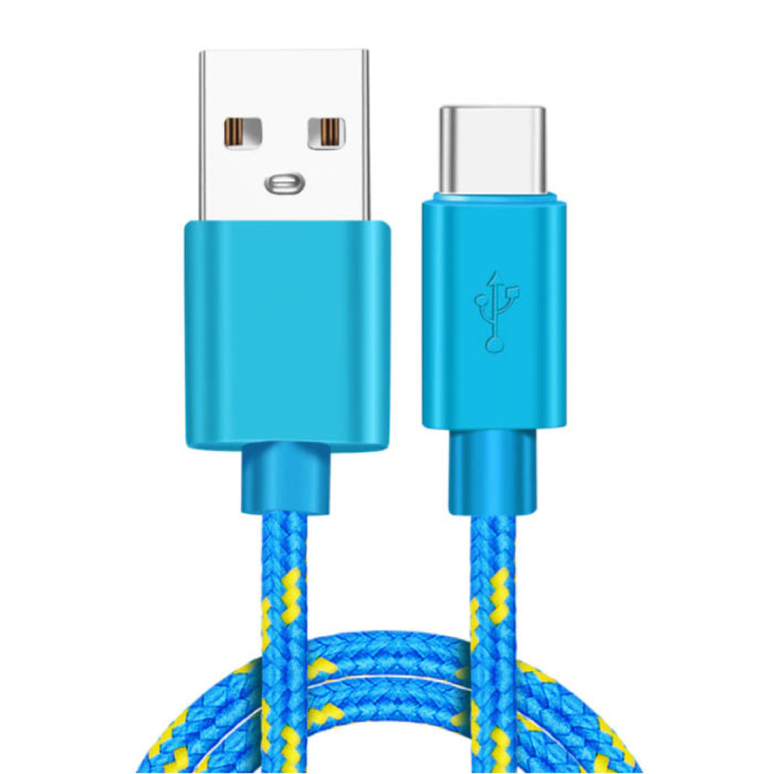 Câble de charge USB-C 2 mètres en nylon tressé - Câble de données de chargeur résistant à l'enchevêtrement bleu