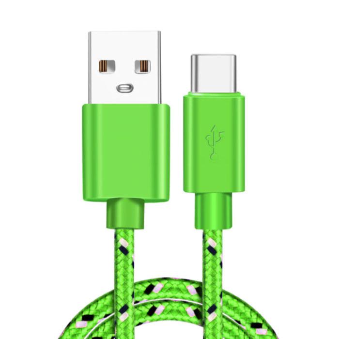 Câble de charge USB-C 2 mètres en nylon tressé - Câble de données de chargeur résistant à l'enchevêtrement vert