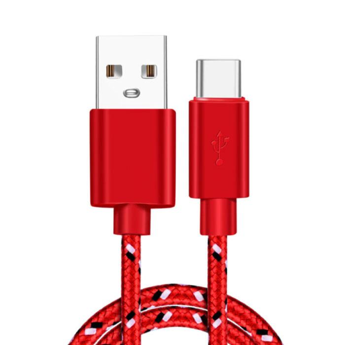 Câble de chargement USB-C 2 mètres en nylon tressé - Câble de données de chargeur résistant à l'enchevêtrement rouge