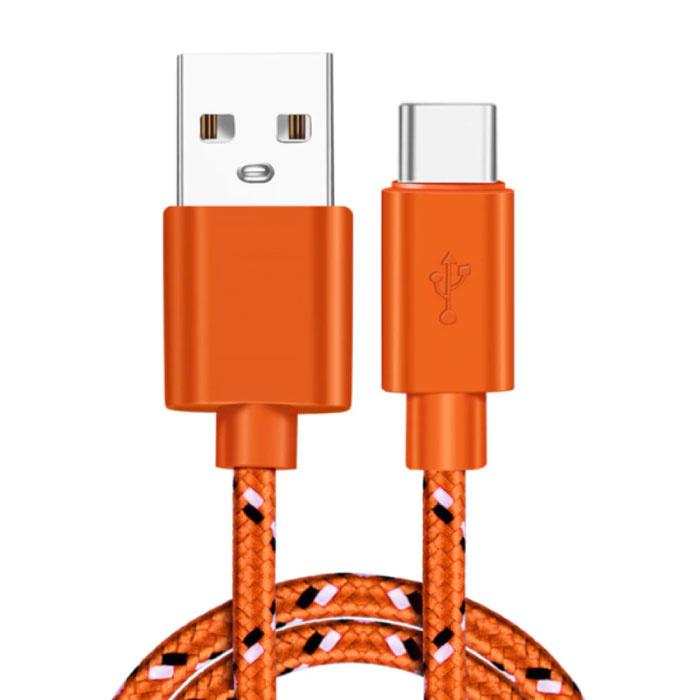 Câble de chargement USB-C 2 mètres en nylon tressé - Câble de données de chargeur résistant à l'enchevêtrement orange