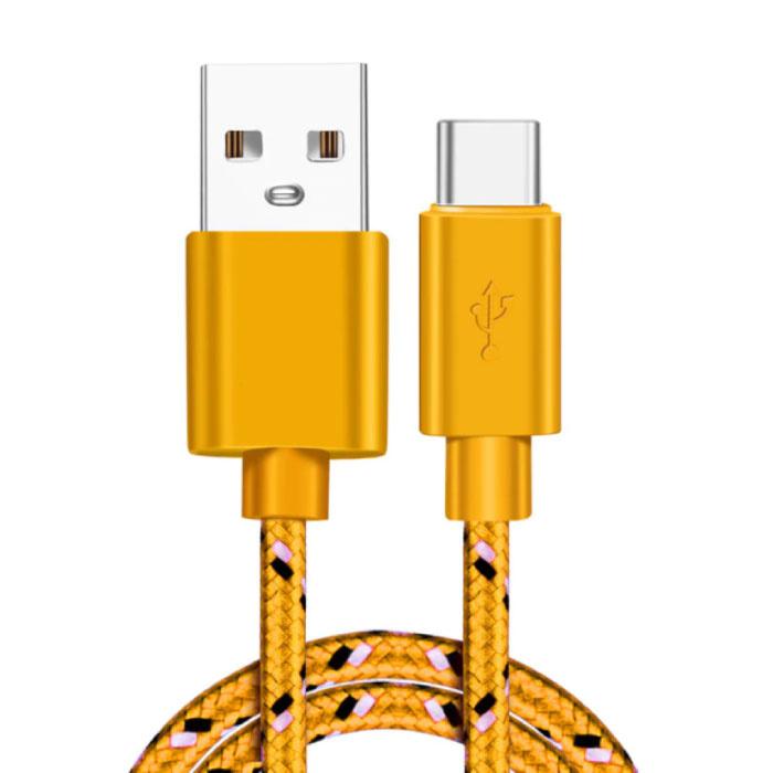 Câble de chargement USB-C 2 mètres en nylon tressé - Câble de données de chargeur résistant à l'enchevêtrement jaune