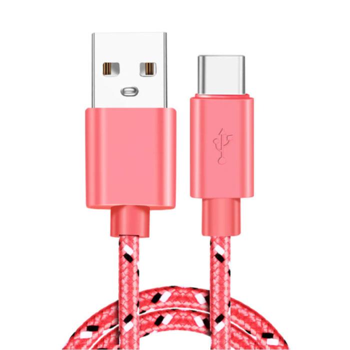 Câble de chargement USB-C 2 mètres en nylon tressé - Câble de données de chargeur résistant à l'enchevêtrement rose