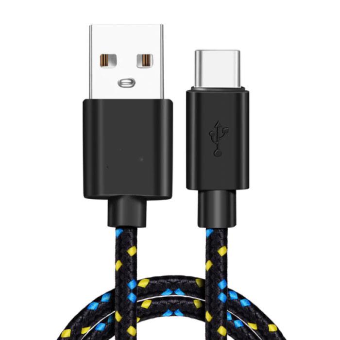 Câble de charge USB-C en nylon tressé de 3 mètres - Câble de données de chargeur résistant à l'enchevêtrement noir