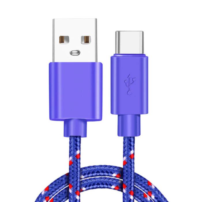 USB-C-Ladekabel 3 Meter geflochtenes Nylon - verwicklungssicheres Ladedatenkabel Lila