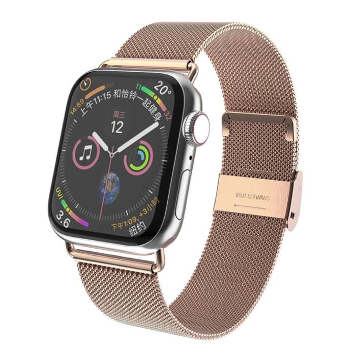 Luxe Bandje voor iWatch 38mm / 40mm - Metalen Armband Polsband Roestvrij Staal Mesh Horlogeband Rose Gold