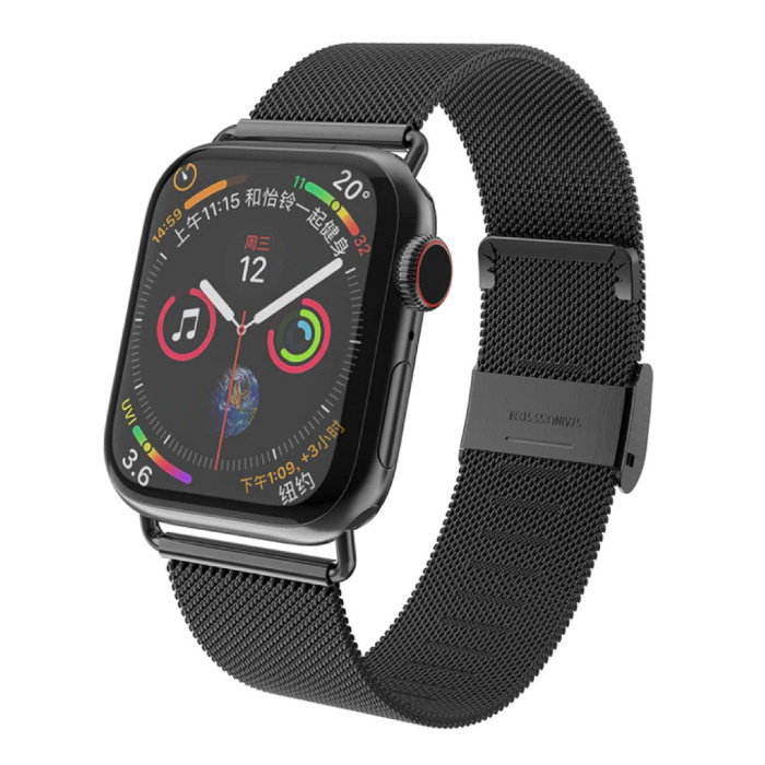 Luxe Bandje voor iWatch 42mm / 44mm - Metalen Armband Polsband Roestvrij Staal Mesh Horlogeband Zwart
