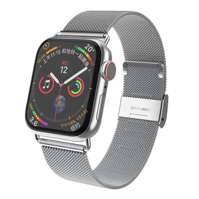 Luxe Bandje voor iWatch 42mm / 44mm - Metalen Armband Polsband Roestvrij Staal Mesh Horlogeband Zilver