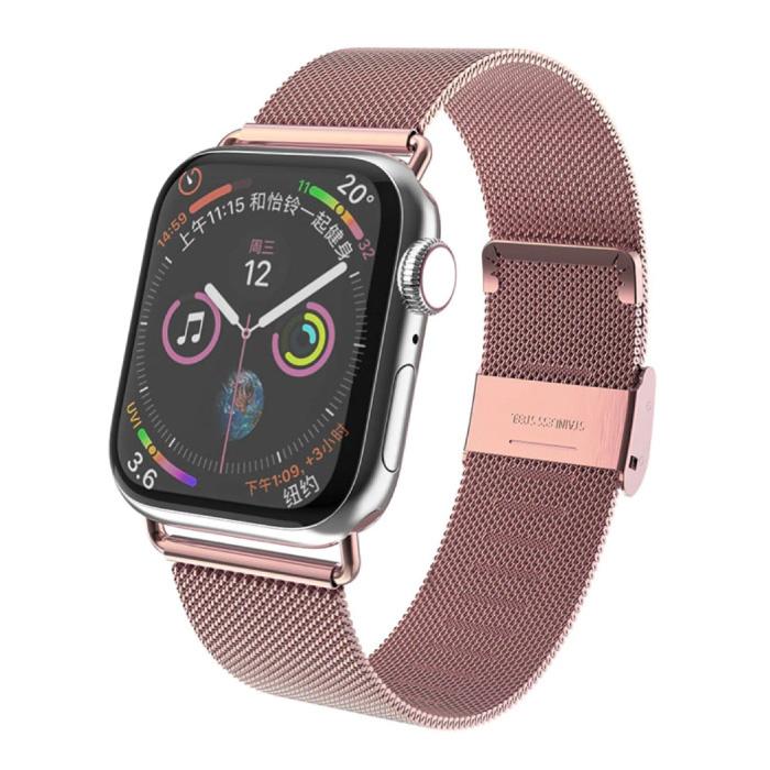 Luxe Bandje voor iWatch 42mm / 44mm - Metalen Armband Polsband Roestvrij Staal Mesh Horlogeband Roze