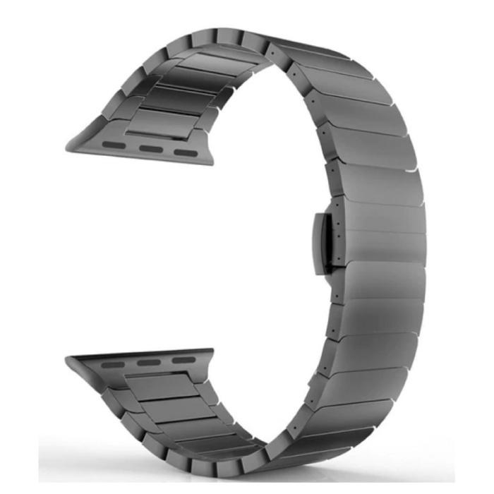Metalen Bandje voor iWatch 44mm - Armband Polsband Roestvrij Staal Horlogeband Zwart