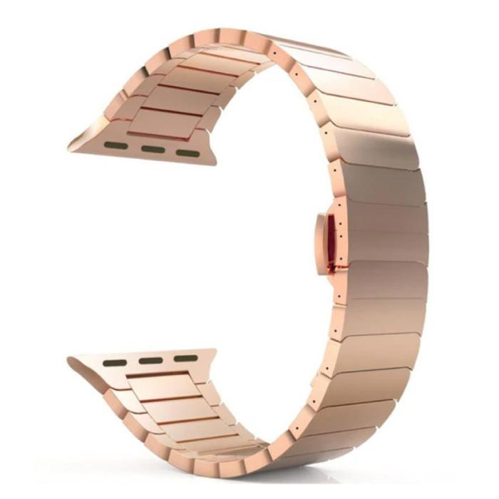 Metalen Bandje voor iWatch 44mm - Armband Polsband Roestvrij Staal Horlogeband Rose Gold