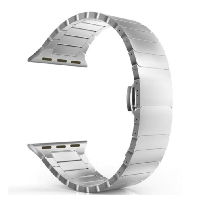 Metalen Bandje voor iWatch 44mm - Armband Polsband Roestvrij Staal Horlogeband Zilver