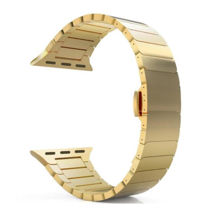 Metalen Bandje voor iWatch 44mm - Armband Polsband Roestvrij Staal Horlogeband Goud